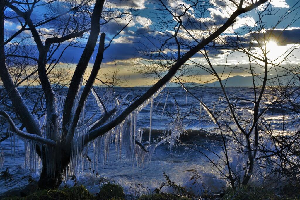 しぶき氷夕景 2