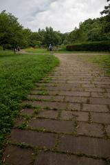石畳のある緑豊かな公園