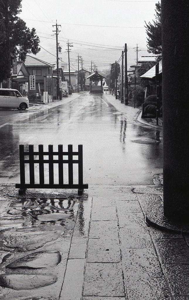 鳥居下から雨の参道