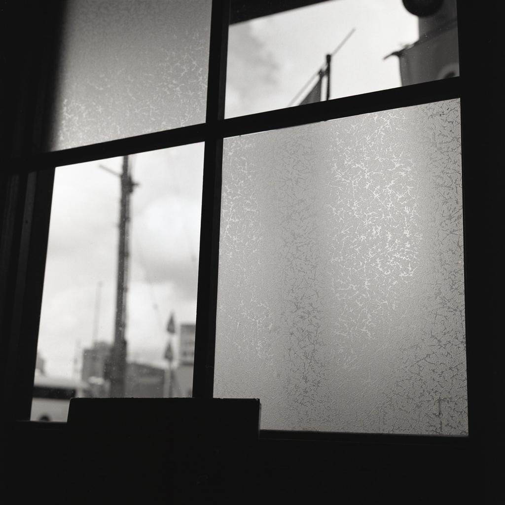 曇天の格子硝子