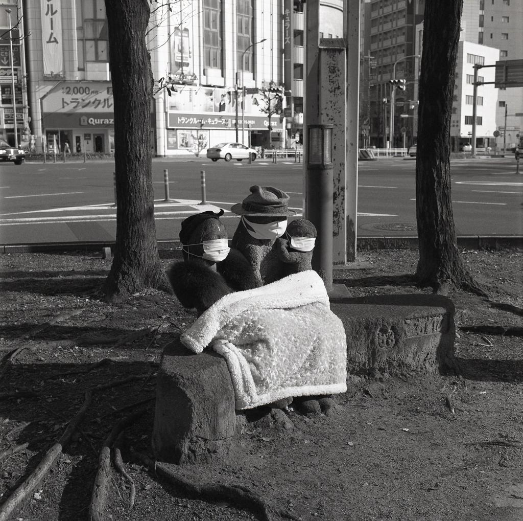 コロナ防止マスクに帽子に冷え防止の膝掛けの母子像