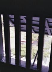 格子窓から見下ろす茶席