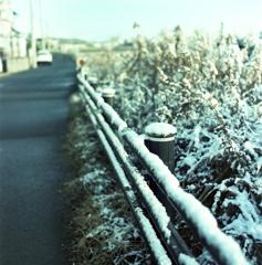 残雪のガードレール