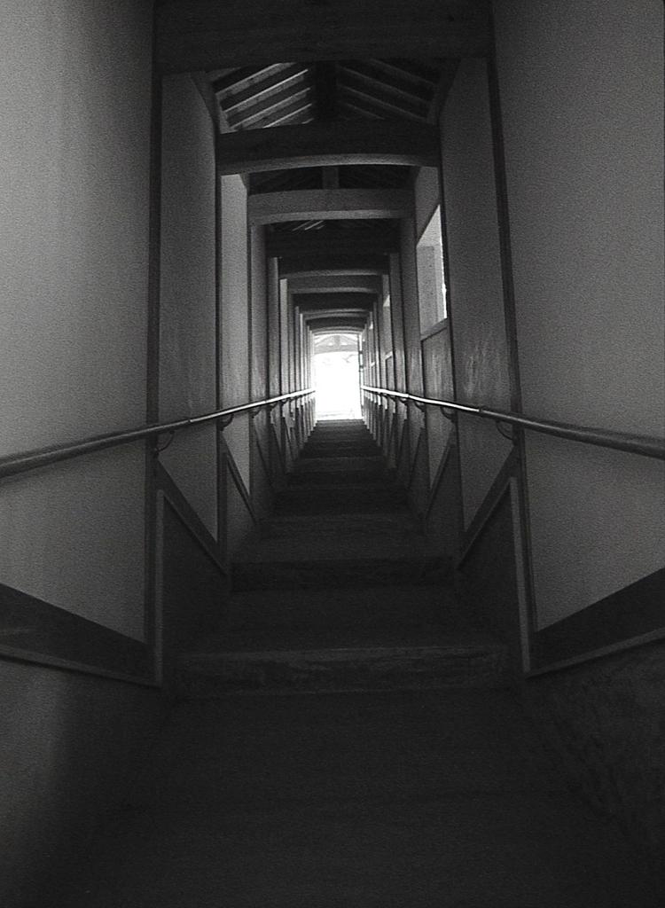 回廊を光差す上方へ登る