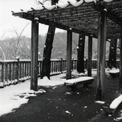 庇下のベンチにも雪が…