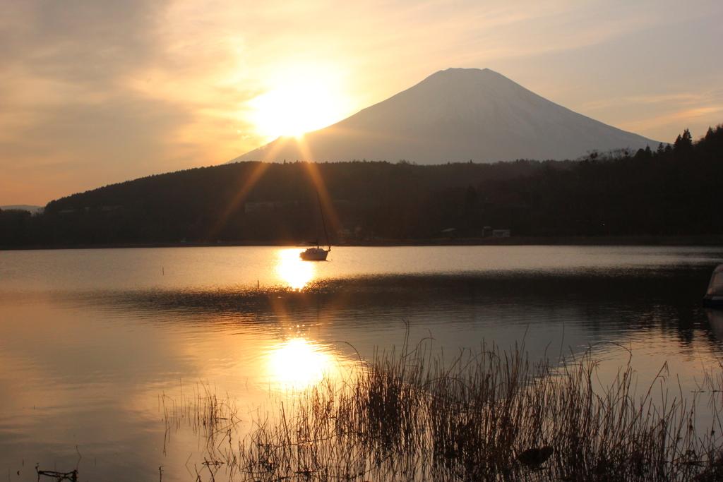 山中湖畔の富士