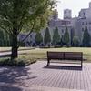 ビル街の芝生とベンチ