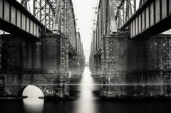 between the bridge..