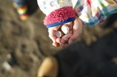親子で砂浜散歩