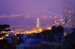 night view from coit tower