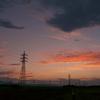 梅雨の晴れ間の夕日と送電鉄塔2