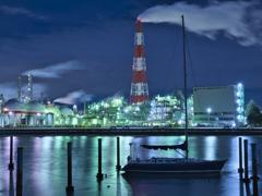 夜景とボート