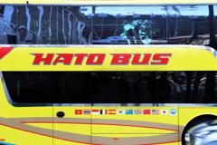 バスの映り込み