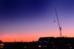 夕方の工事