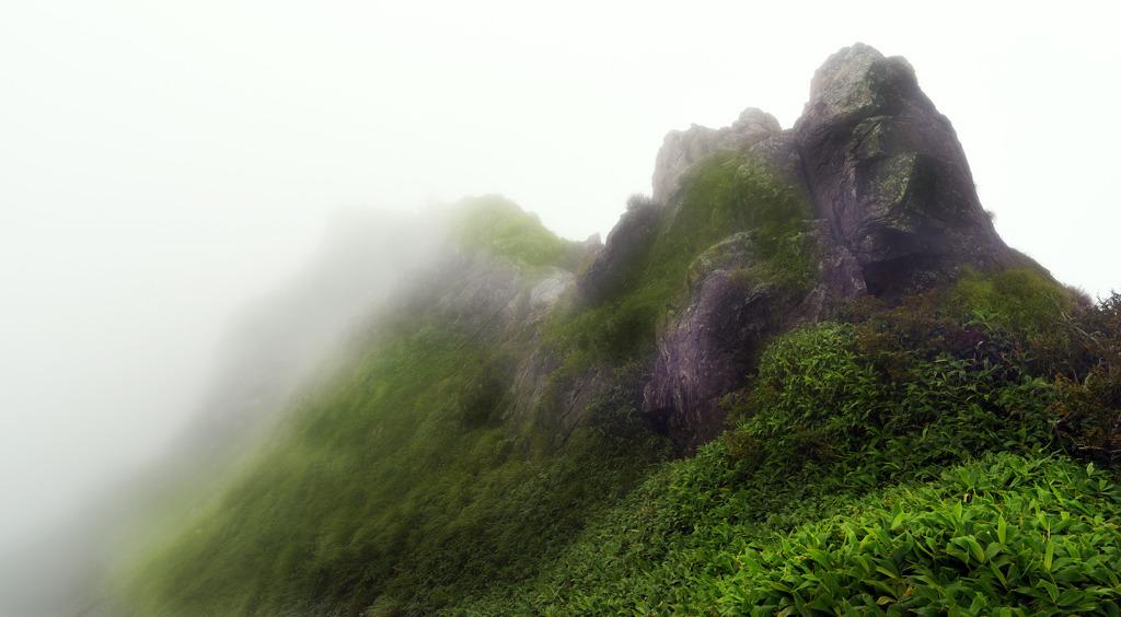霧中行進 谷川岳