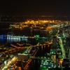 横浜ランドマークタワーからの夜景(大桟橋、ベイブリッジ方面)