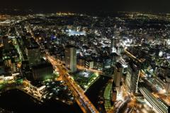 横浜ランドマークタワーからの夜景(横浜スタジアム方面)