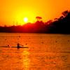 夕陽とカヌー部。