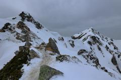 残雪の唐松岳