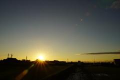 台風一過の今日の夕日