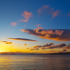 海の朝日影