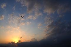 夕陽と雲と