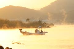 朝陽が照らす川のほとり
