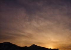 空と雲の夕方