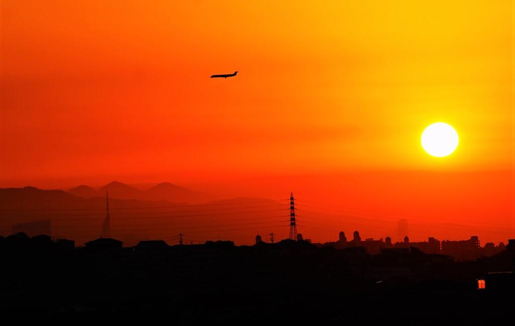 夕暮れの着陸