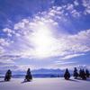 雪原と越後三山
