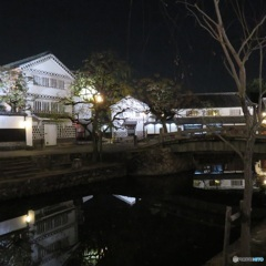 夜の倉敷河畔