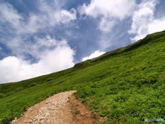 頑張れ、頂上まであと少し…伊吹山