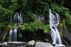 水と岩と植物の共演;たそがれ時の吐竜の滝 (習作)