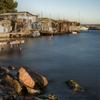 セート 朝日に照される漁港