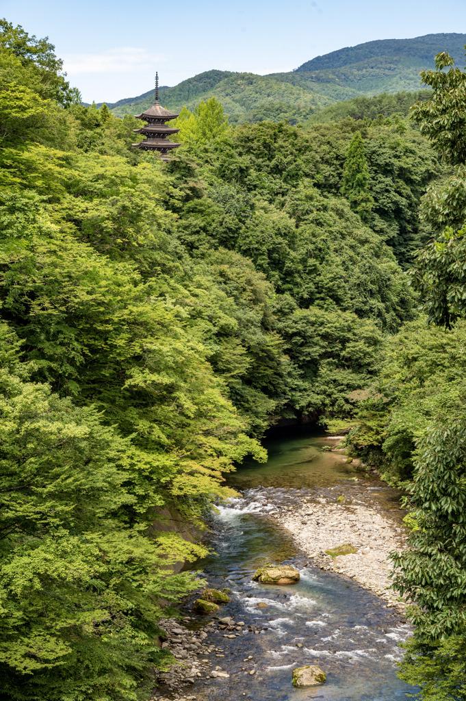 大自然と五重塔