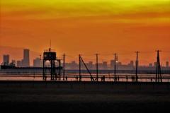 東京湾・・・平成の夕焼け・・・見送る人たち