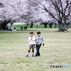 桜とキメポーズ