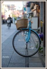 水色の自転車