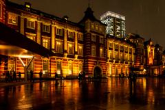 東京駅 雨