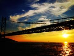 夕刻の明石海峡。