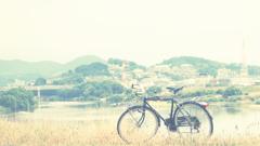 土手に自転車。