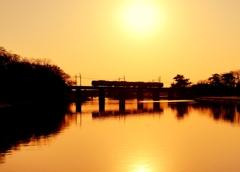 初めてのフルサイズデジタル  夕焼け鉄橋