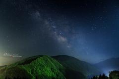 夏山の夜空