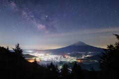 富士夜景と天の川Ⅱ