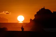 達磨太陽と釣り人