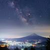 富士夜景と天の川