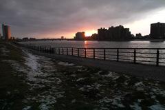 新潟市内 信濃川の夕景