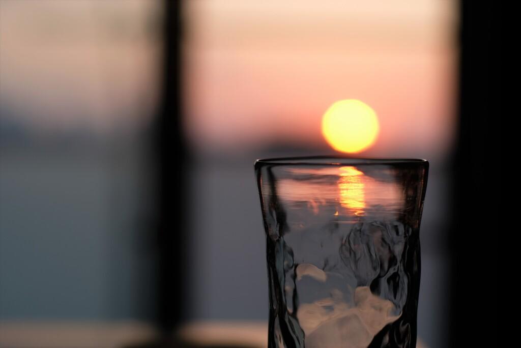 名月の日に夕陽を撮る・・・