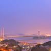 日が暮れた瀬戸大橋