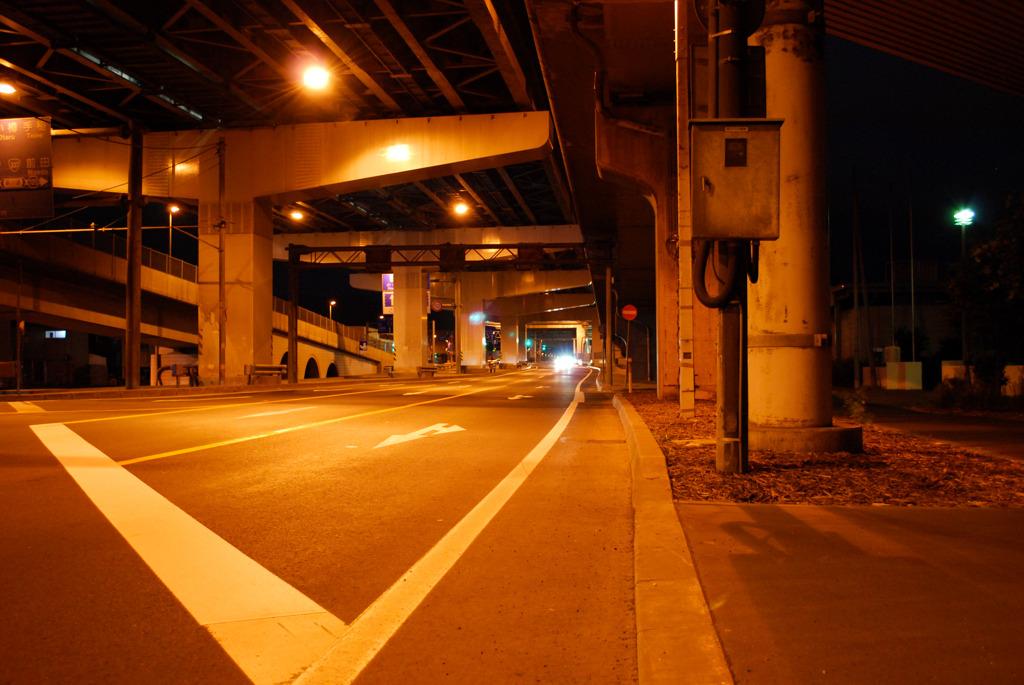 夏の夜の道